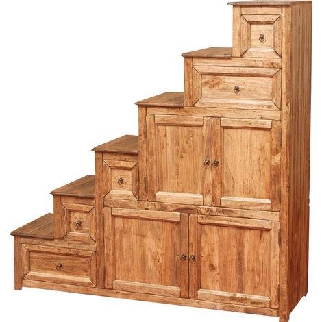 Commode escalier avec tiroirs rustique style en bois massif de tilleul finition blanche antique - D Made in Italy