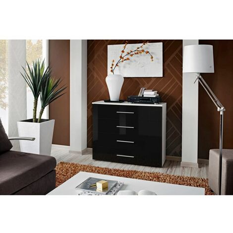 Commode - Go III - 100 cm x 83 cm x 40 cm - Blanc et noir - Livraison gratuite