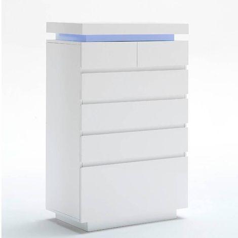 Commode haute OCEAN laqué blanc brillant 6 tiroirs LED blanc inclus - blanc