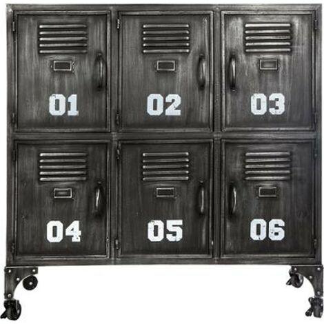 Commode Industrielle 6 Portes Casiers 90cm Noir