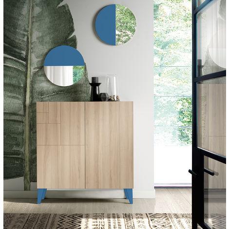Commode meuble à chaussures coloris cambrian/océan - Dim : H.87 x L.90 x P.27 cm -PEGANE-