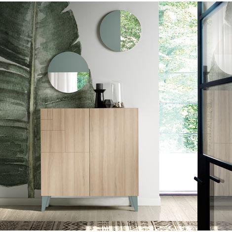 Commode meuble à chaussures coloris cambrian/vert - Dim : H.87 x L.90 x P.27 cm -PEGANE-