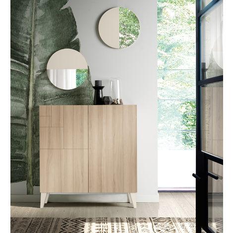 Commode meuble à chaussures coloris cambrian/vison - Dim : H.87 x L.90 x P.27 cm -PEGANE-