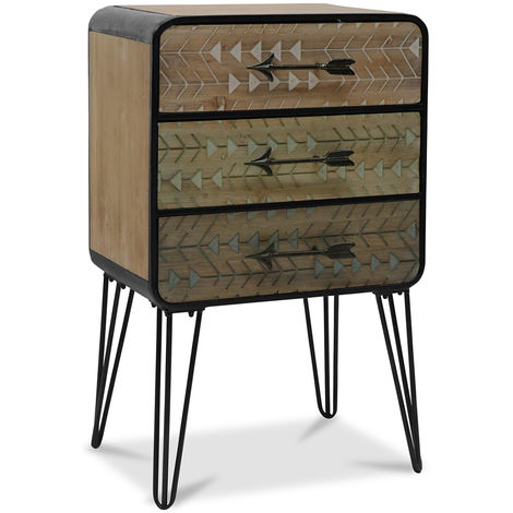 Commode pieds hairpin style industriel Bois naturel