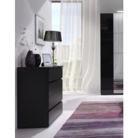 Commode pour chambre à coucher adulte ou enfant DANIELE. Composée de 4  tiroirs. Coloris noir mat. Meuble design