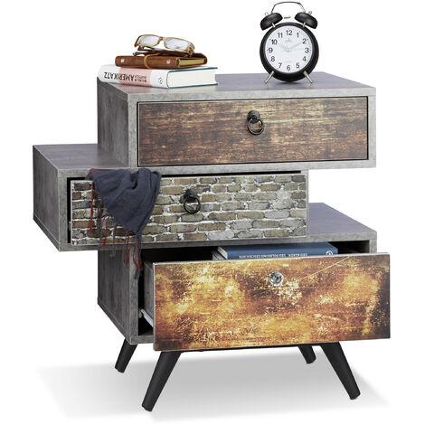 Commode vintage avec 3 tiroirs look béton étagère meuble rangement Shabby industriel HxlxP: 60x60x40 cm, gris