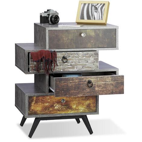 Commode vintage avec 4 tiroirs décalés étagère meuble rangement lowboard HxlxP: 68 x 60 x 40 cm, gris