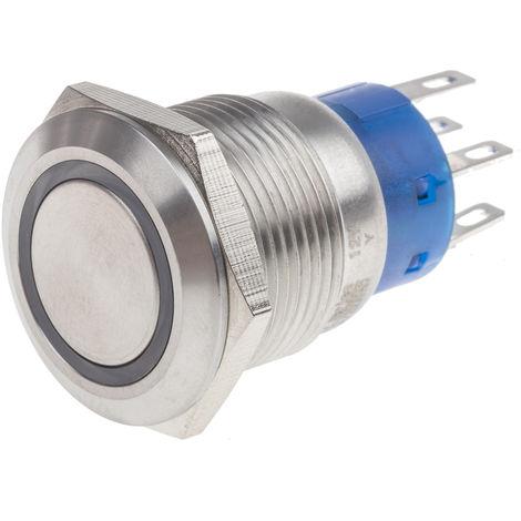 Commutateur à bouton-poussoir, Verrouillable lumineux Bipolaire à deux directions (2RT), 5 A, Montage panneau