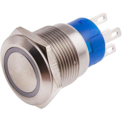 Commutateur à bouton-poussoir, Verrouillable lumineux, Unipolaire à deux directions (1RT), 5 A, Montage panneau