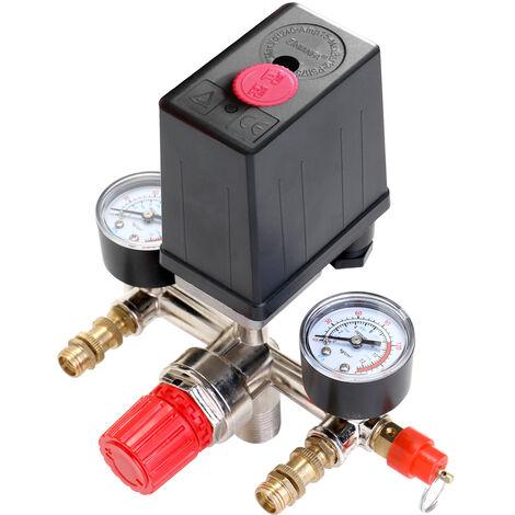 Commutateur de commande de pression de compresseur d'air Pressostat de compresseur Indicateur de pression reglable 125psi