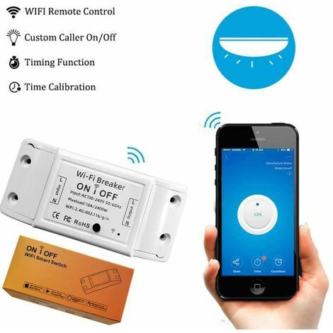 Commutateur Interrupteur WiFi, Smart Remote Control Module de Commutation WiFi Télécommande Compatible avec Alexa Google - AE0008