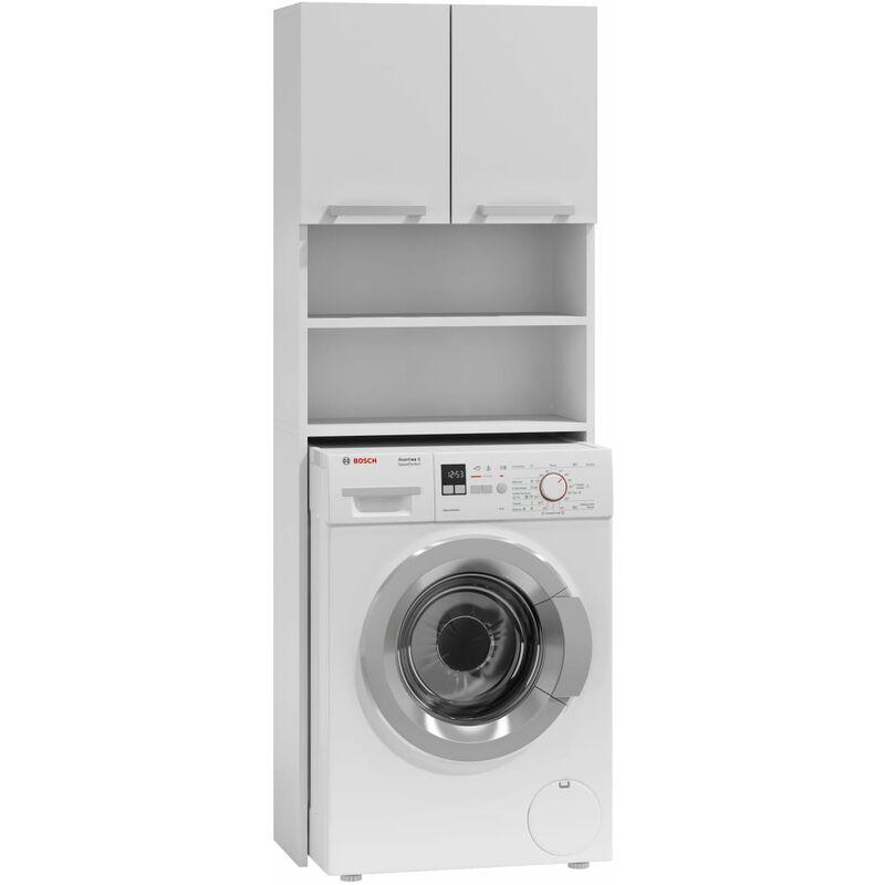 Como Meuble Pour Machine A Laver 64x183x30 Espace De Rangement Buanderie Lave Linge Salle De Bain Avec Placard Etageres Blanc Blanc Top Pola White