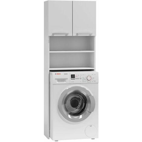 COMO | Meuble pour machine à laver 64x183x30 | Espace de rangement buanderie/lave linge/salle de bain avec placard/étagères | blanc - blanc