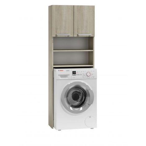 COMO | Meuble pour machine à laver 64x183x30 | Espace de rangement buanderie/lave linge/salle de bain avec placard/étagères | sonoma - sonoma