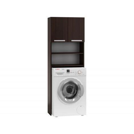 COMO | Meuble pour machine à laver 64x183x30 | Espace de rangement buanderie/lave linge/salle de bain avec placard/étagères | wenge - wenge
