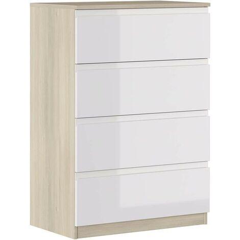 Cómoda 113 cm Blanco brillante y roble con 4 cajones serie Oslo | roble y blanco