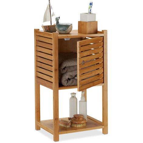 Cómoda baño, Tres estantes, Una puerta, Mueble almacenaje toallas, Bambú, 62,5 x 35 x 29 cm, 1 Ud. Marrón