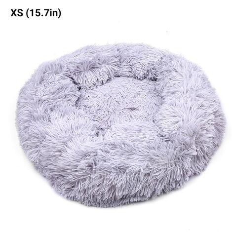 Comoda cama de felpa redonda para mascotas Perros Gatos piel suave dona antideslizante impermeable lavable Base Auto Calentamiento amortiguador cama, gris claro, XS, 40CM