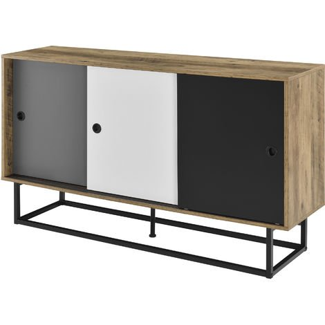 Cómoda con puerta corredera - 140 x 35 x 80 cm - Diseño - Metal - MDF - Multicolor