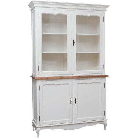 Cómoda de estilo Country de madera maciza de tilo armazón blanco acabado con efecto natrual 125x42x207 cm