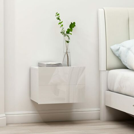 Comodini Bianco Lucido 2 pz 40x30x30 cm in Truciolato