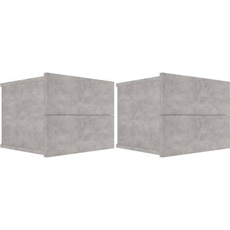 Comodini Grigio Cemento 2 pz 40x30x30 cm in Truciolato