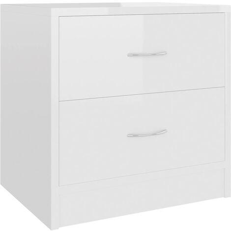 Comodino Bianco Lucido 40x30x40 cm in Truciolato