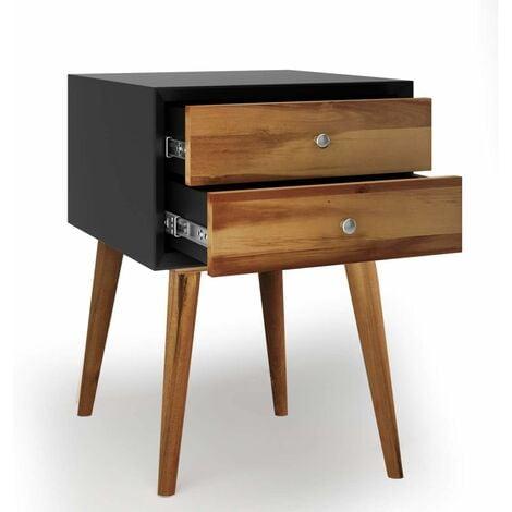 comodino per la notte con armadio comodino bianco in legno tavolino con ripiano e mobile Greensen