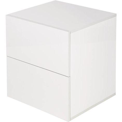 misura grande Comodini con 2 cassetti stile country colore: bianco Famyfamy
