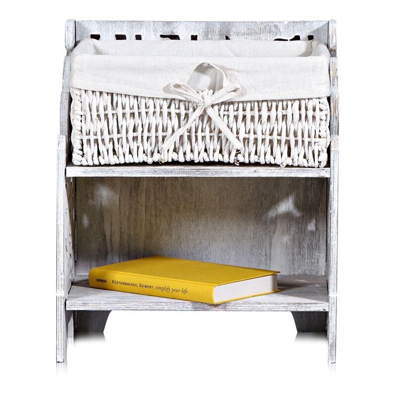 Comodino comodino Shabby bianco con comodino tagliato comodino comodino in legno - Melko