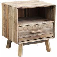Comodino per camera da letto in legno di pino riciclato di design stile  vintage country moderno , cm 55 x 45 x 62 h