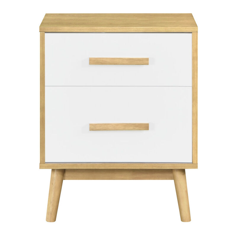 Comodino scandinavo a 2 cassetti in legno chiaro e bianco TALIA
