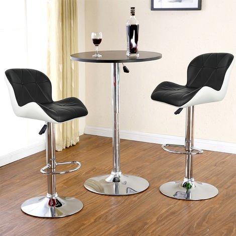 Cómodo juego de 2 taburetes de bar con asiento bien acolchado, 2 diseños de 2 colores, taburetes en piel sintética ajustable, imitación en blanco y negro