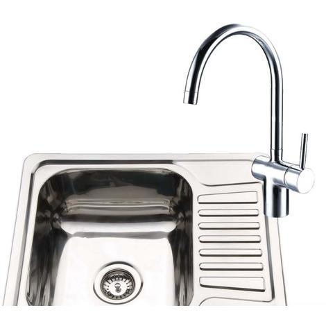 Compact 1.0 Stainless Steel Kitchen Sink & Drainer & A Chrome Mixer Tap (KST098)