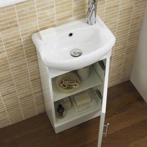 Compact 420mm White Gloss Cabinet & Basin - 1 Tap Hole