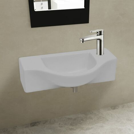 Compact Ceramic Bathroom Cloakroom Sink Basin with Faucet Hole White/Black