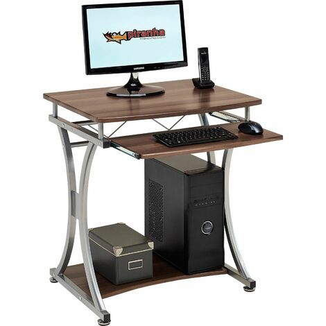 Compact Computer Desk Trolly with Keyboard Shelf Home Office in Dark Walnut Effect - Piranha Furniture Minnow PC 11w - Dark Walnut