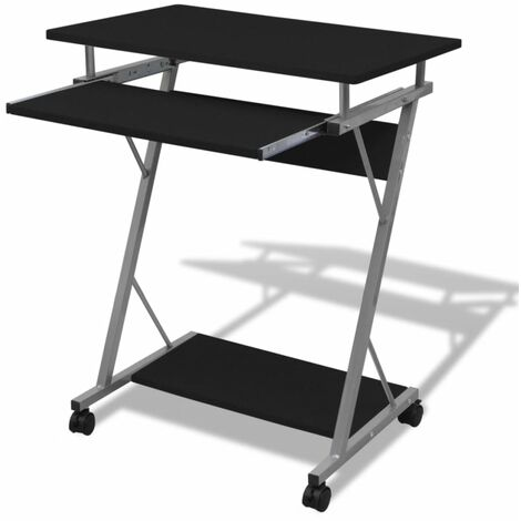 Compact Computer Desk with Pull-out Keyboard Tray Black