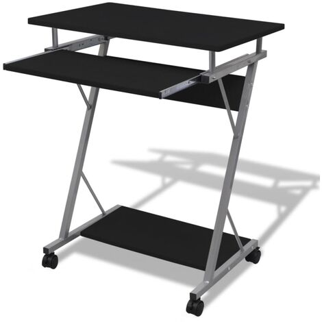 Compact Computer Desk with Pull-out Keyboard Tray Black - Black