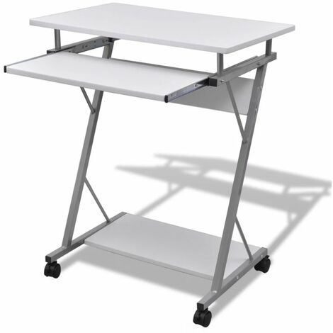 Compact Computer Desk with Pull-out Keyboard Tray White