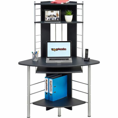Compact Corner Computer Desk and Workstation with Shelves for the Home Office Piranha Furniture Oscar PC 8g - Graphite Black