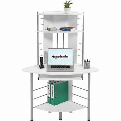 Compact Corner Computer Desk and Workstation with Shelves for the Home Office Piranha Furniture Oscar PC 8s - White Woodgrain