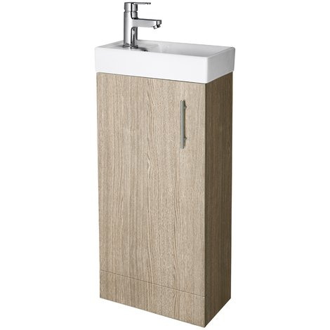 Compact Floor Standing Oak 400mm Basin & Cabinet