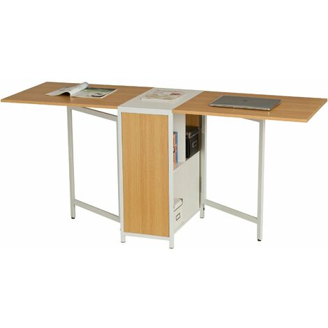 Compact Foldable Table and Desk with Storage for the Home or Office Piranha Furniture PEACOCK - Oak