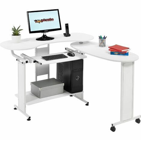 Compact Folding Computer and Writing Desk with Sliding Keyboard Shelf in White Woodgrain Effect for Home Office - Piranha Furniture Mako - White Woodgrain