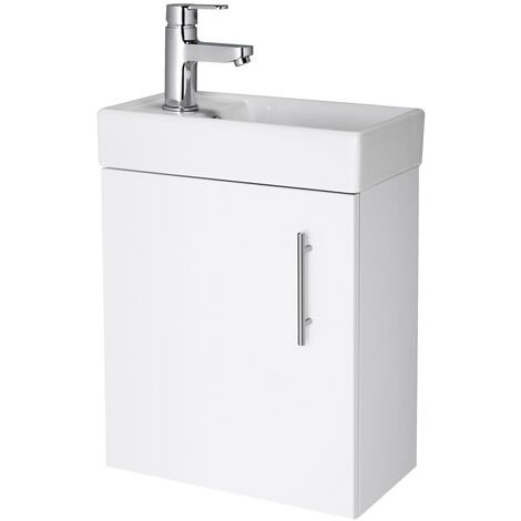 """main image of """"Compact Gloss White 400mm Wall Mounted Vanity Unit and Basin with 1 Tap Hole"""""""