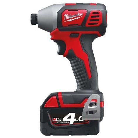 Compact impact screwdriver MILWAUKEE M18 BID-402C - 2 batteries 18V 4.0Ah - 1 charger M12-18C 4933443580