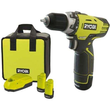Compact RYOBI 12V Lithium-ion Cordless Drill - 2 batteries 1.3Ah - 1 charger 1h - bag RCD12012L