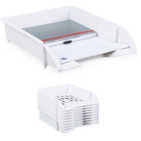 Compartiments rangement empilables, Set de 10, Papier DIN A4, Bureau, Rangement documents plastique, blanc