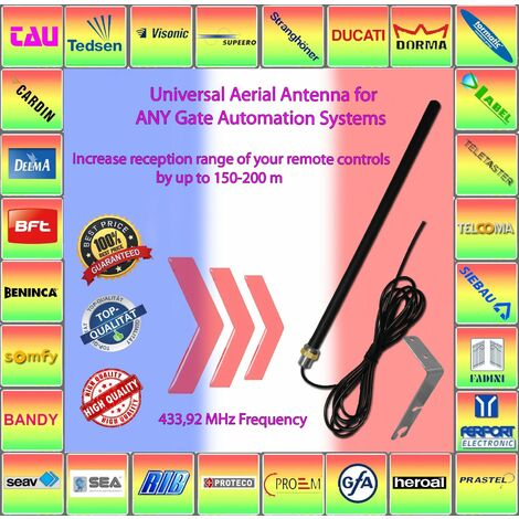 compatible avec T432, T434 CAME Antenne aerienne universelle 433,92 MHz, augmentez la portee de reception de vos telecommandes